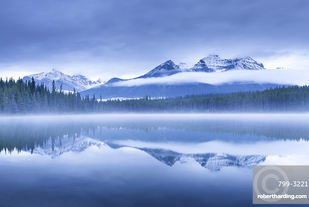 Misty morning at Herbert Lake in the Canadian Rockies, Banff National Park, UNESCO World Heritage Site, Alberta, Canada, North America
