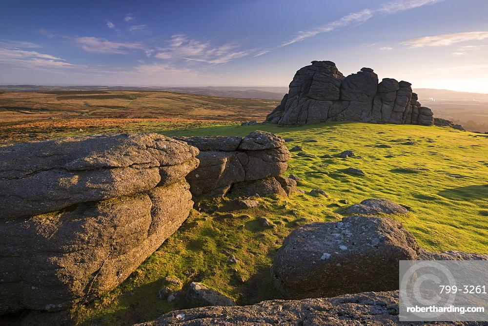 Early morning sunlight at Haytor Rocks, Dartmoor National Park, Devon, England, United Kingdom, Europe
