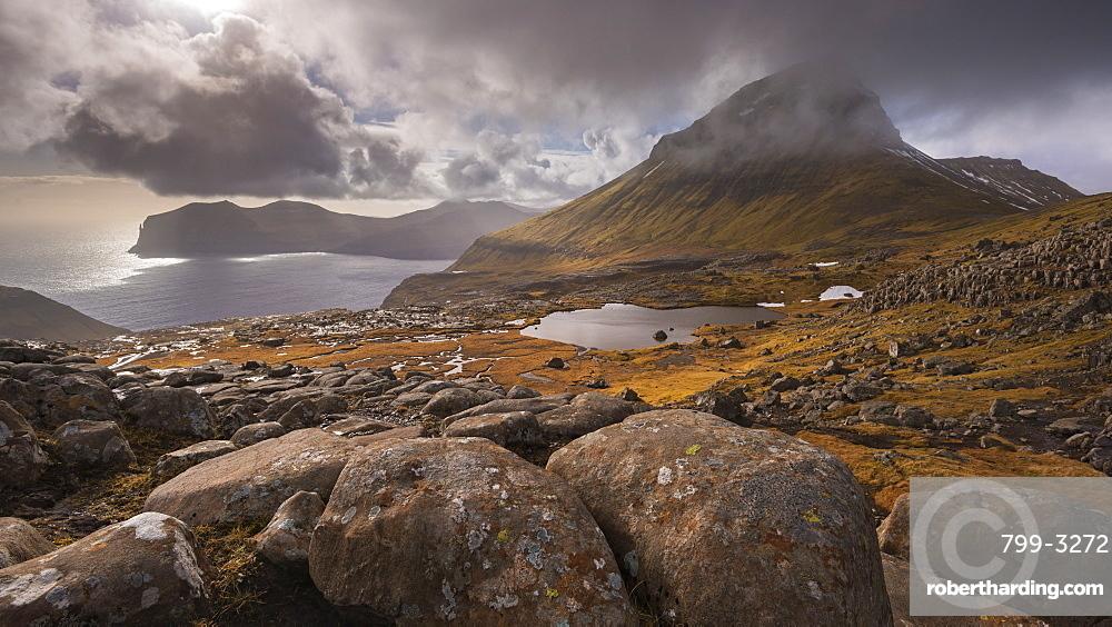 Skaelingur mountain on the island of Streymoy in the Faroe Islands, Denmark, Europe