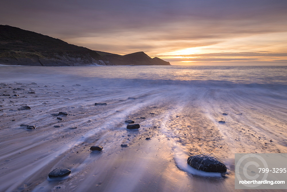 Sunset over Crackington Haven Beach, North Cornwall, England, United Kingdom, Europe