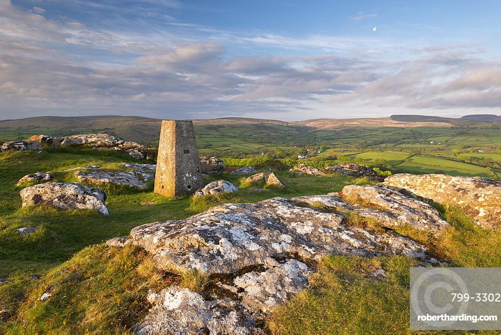 Trig Point on Meldon Hill in Dartmoor National Park, Devon, England, United Kingdom, Europe