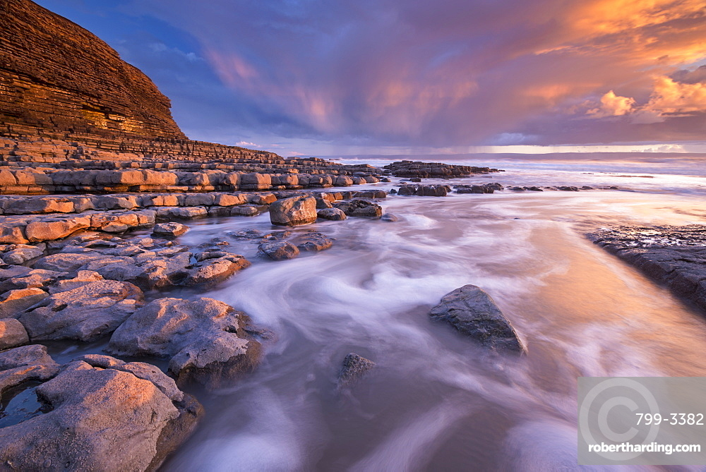 Spectacular sunset over Nash Point on the Glamorgan Heritage Coast, South Wales, United Kingdom, Europe