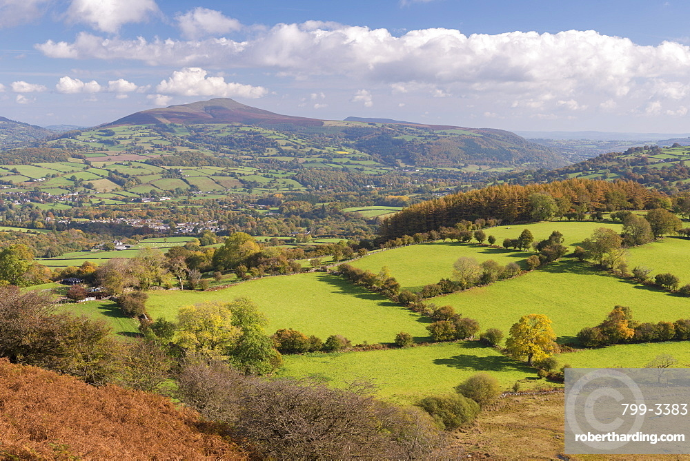 Rolling countryside views towards the Sugarloaf, Brecon Beacons, Powys, Wales, United Kingdom, Europe