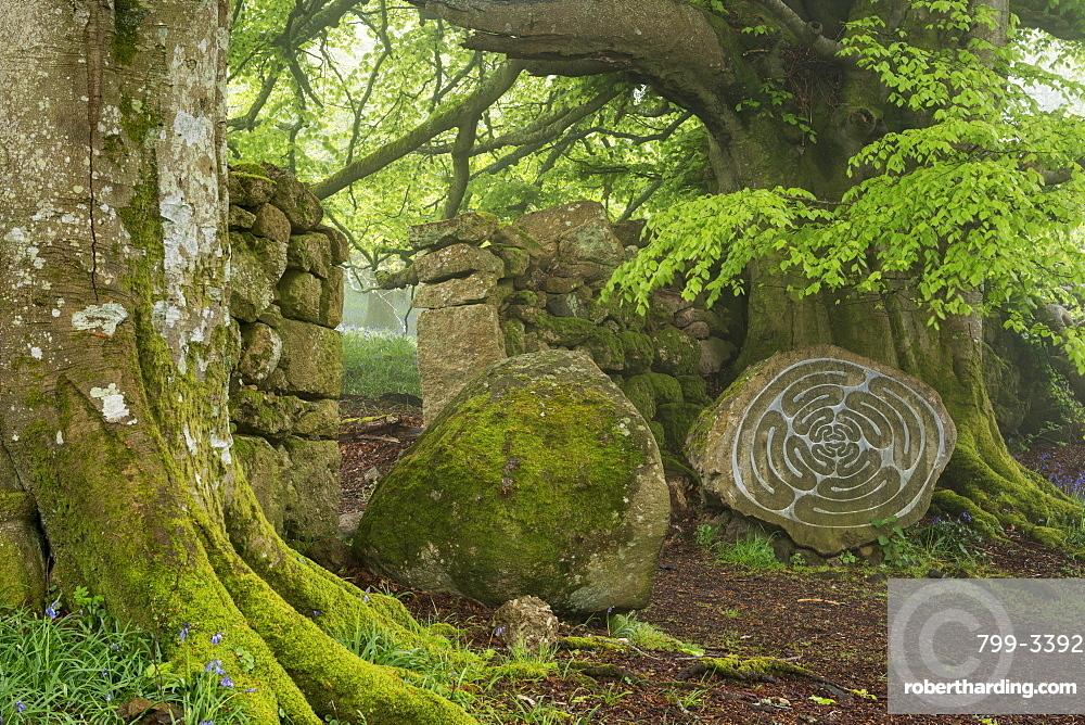 Stone sculpture by renowned British artist Peter Randall-Page in Whiddon Deer Park, Dartmoor, Devon, England, United Kingdom, Europe