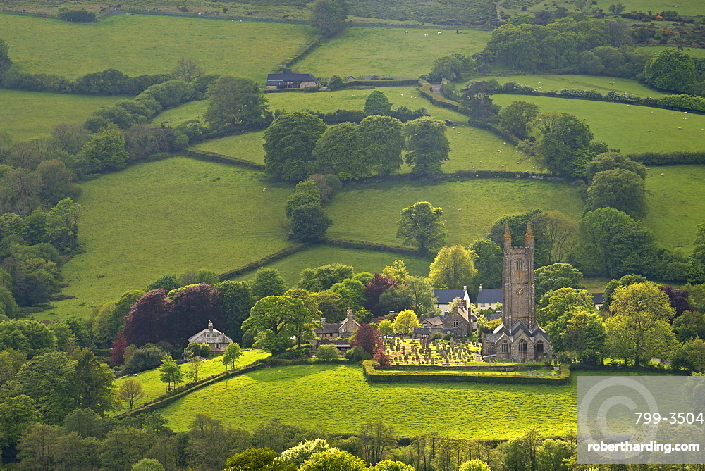 Widecombe in the Moor Church and village surrounded by beautiful rolling farmland, Dartmoor National Park, Devon, England, United Kingdom, Europe