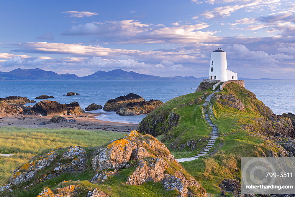 Twr Mawr lighthouse on Llanddwyn Island in Anglesey, North Wales, United Kingdom, Europe