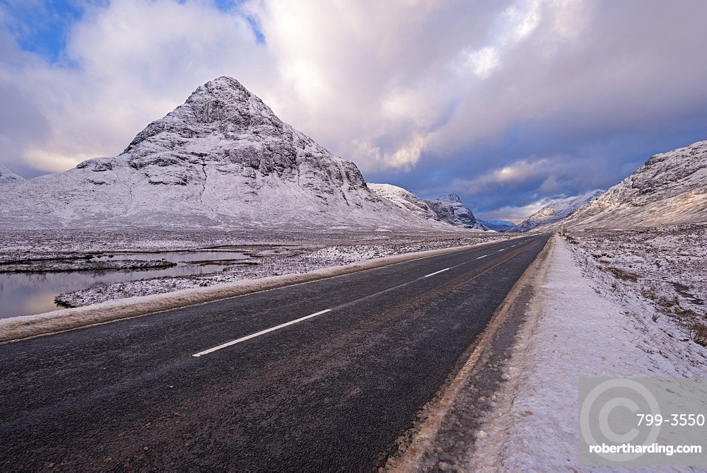 Road through snow covered Rannoch Moor in the Scottish Highlands, Argyll, Scotland, United Kingdom, Europe