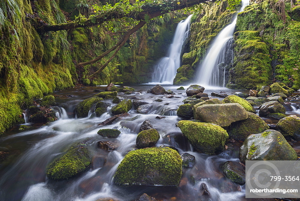 Double waterfall cascade at Venford Brook in Dartmoor National Park, Devon, England, United Kingdom, Europe
