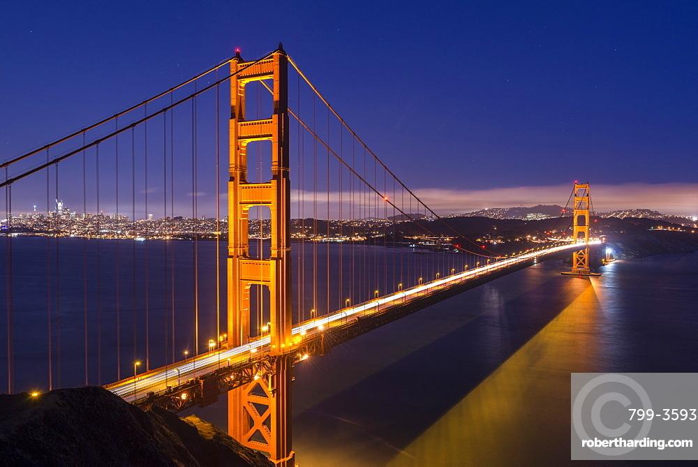 Golden Gate Bridge illuminated at night, San Francisco, California, United States of America, North America