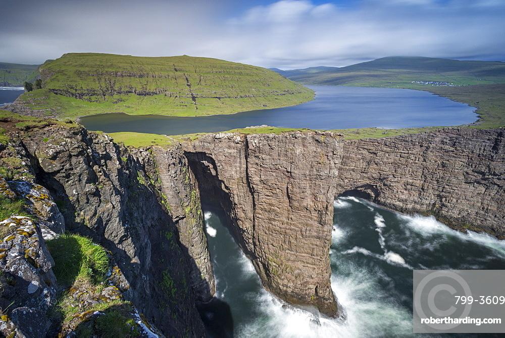 Traelanipa cliffs and Sorvagsvatn Lake on the island of Vagar in the Faroe Islands, Denmark, Europe