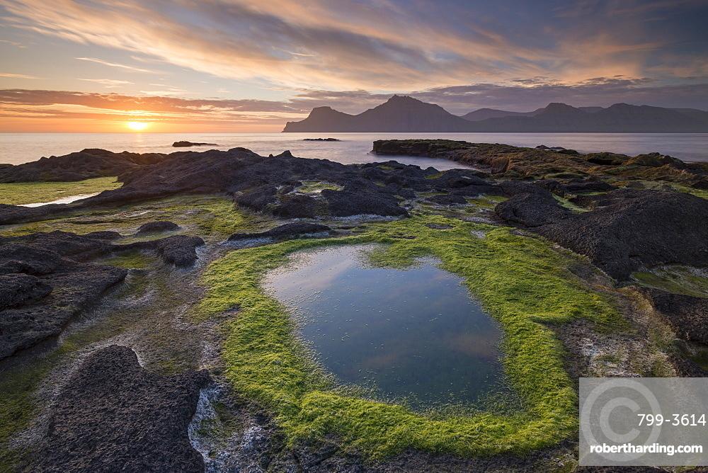 Sunrise at Gjogv on the longest day of the year, Eysturoy, Faroe Islands, Denmark, Europe