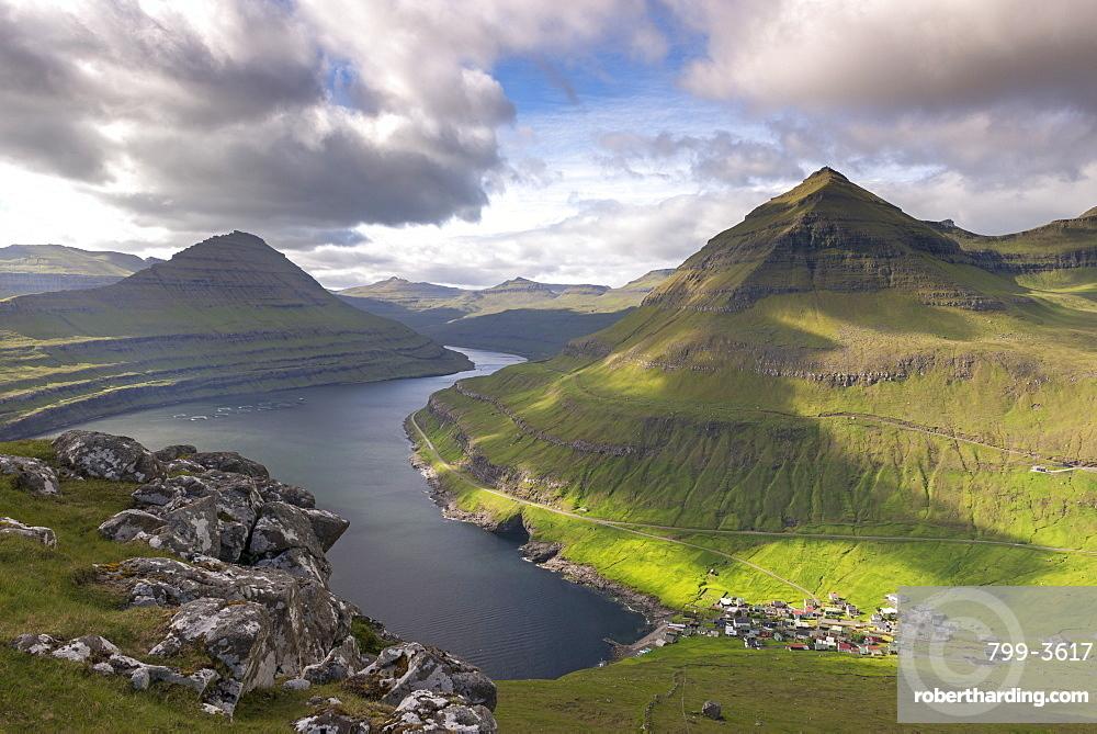 Village of Funningur on the shores of Funningsfjordur in the Faroe Islands, Denmark, Europe