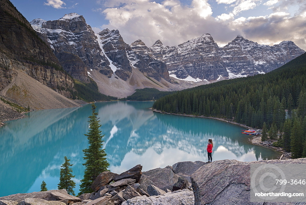 Woman looking over Moraine Lake from the Rockpile, Canadian Rockies, Banff National Park, UNESCO World Heritage Site, Alberta, Canada, North America