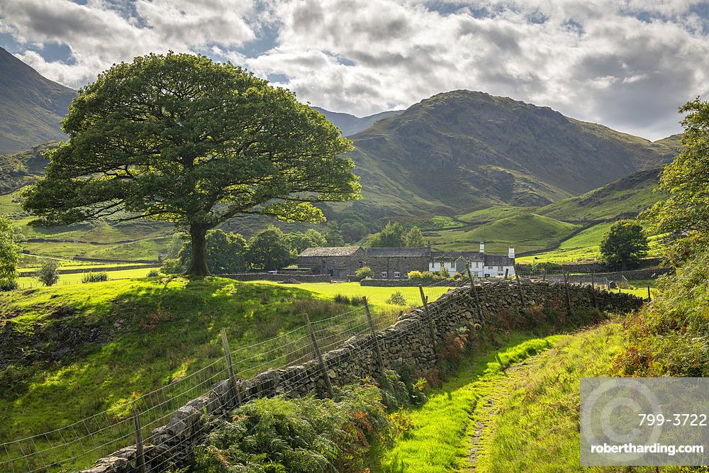 Idyllic countryside and farmhouse, Little Langdale, Lake District National Park, UNESCO World Heritage Site, Cumbria, England, United Kingdom, Europe