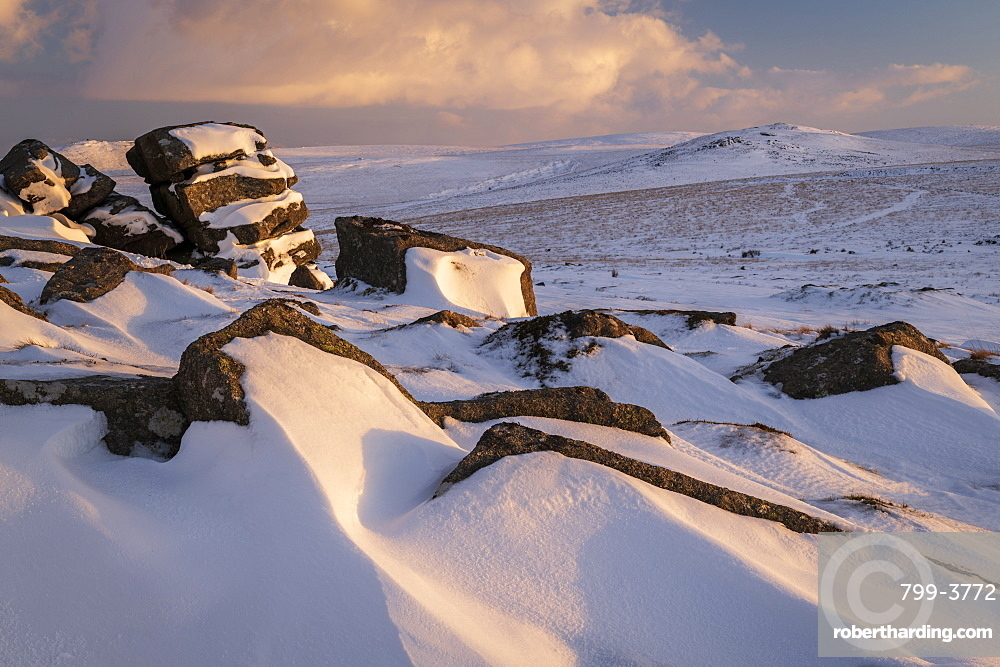 Winter snow at Rowtor, Dartmoor National Park, Devon, England, United Kingdom, Europe