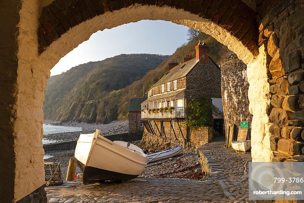 Clovelly harbour through archway, Clovelly, Devon, England, United Kingdom, Europe