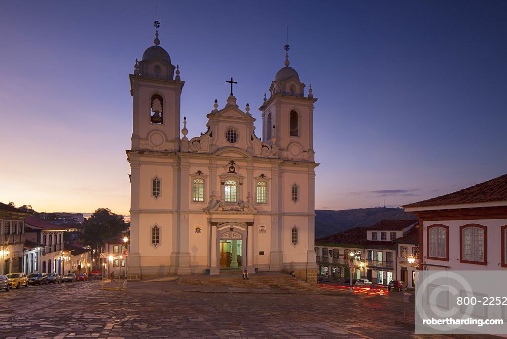 Metropolitan Cathedral of St Antony at sunset, Diamantina, UNESCO World Heritage Site, Minas Gerais, Brazil, South America