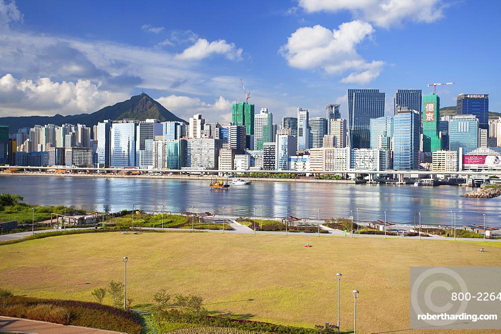 Runway Park on old Kai Tak airport and skyscrapers of Kwun Tong, Kai Tak, Kowloon, Hong Kong, China, Asia