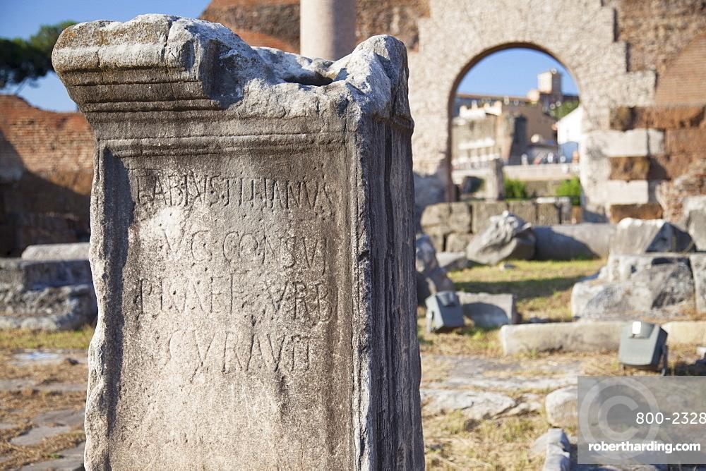 Ruins of Basilica Emilia in Roman Forum, UNESCO World Heritage Site, Rome, Lazio, Italy, Europe