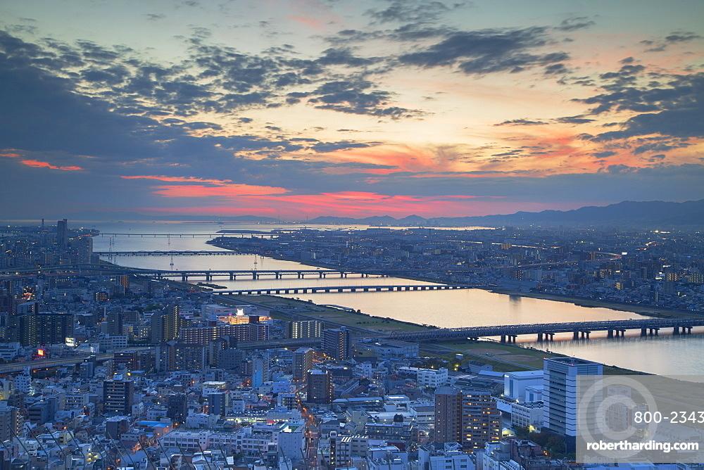 View of Yodo River and Osaka Bay at sunset, Osaka, Kansai, Japan, Asia