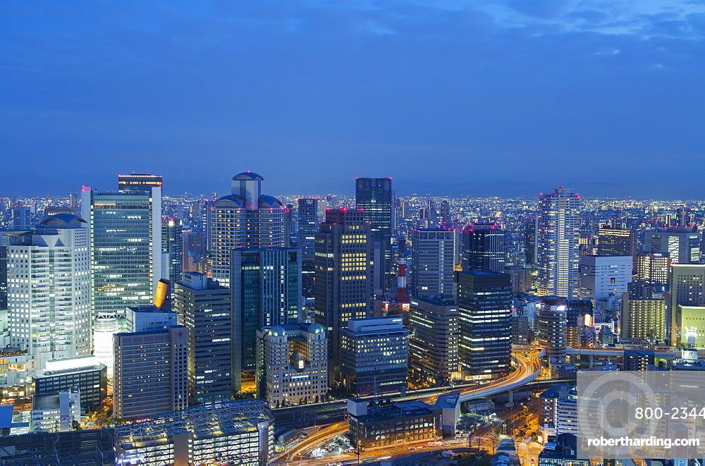 View of skyscrapers of Kita at dusk, Osaka, Kansai, Japan, Asia