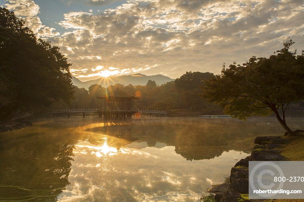 Ukimido Pavilion in Nara Park at dawn, Nara, Kansai, Japan, Asia