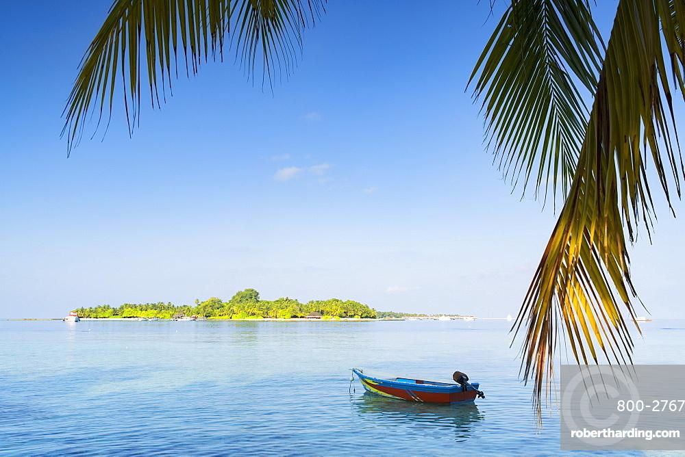 View of Kuramathi Island, Rasdhoo Island, Northern Ari Atoll, Maldives, Indian Ocean, Asia