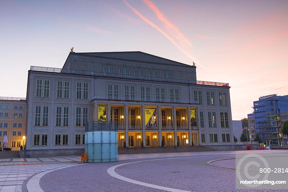 Opera House in Augustusplatz at dawn, Leipzig, Saxony, Germany, Europe
