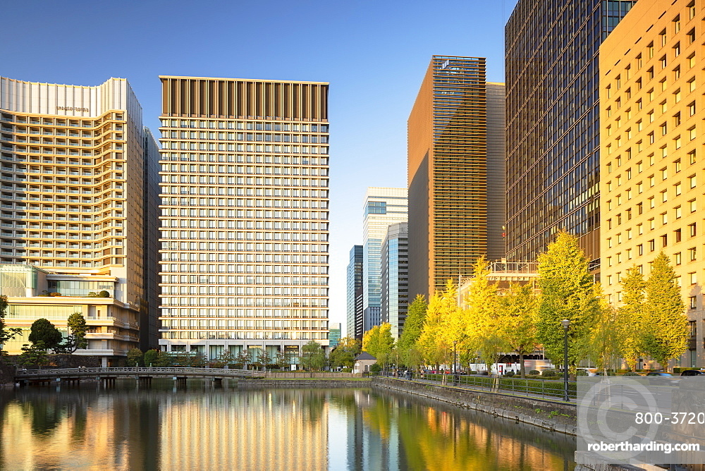 Skyscrapers of Marunouchi and Imperial Palace moat, Tokyo, Japan