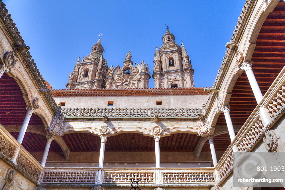 House of Shells interior, and Clerecia Church in the background, Salamanca, UNESCO World Heritage Site, Castile y Leon, Spain, Europe