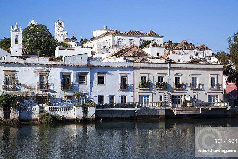 Historic buildings along the Gilao River, Tavira, Alagarve, Portugal, Europe