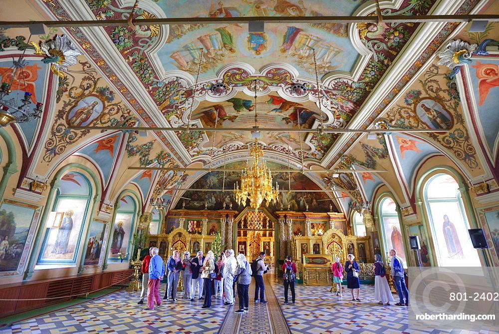 Tourists, frescoes, St. Sergius Church, Holy Trinity Saint Sergius Lavra, UNESCO World Heritage Site, Sergiev Posad, Russia, Europe