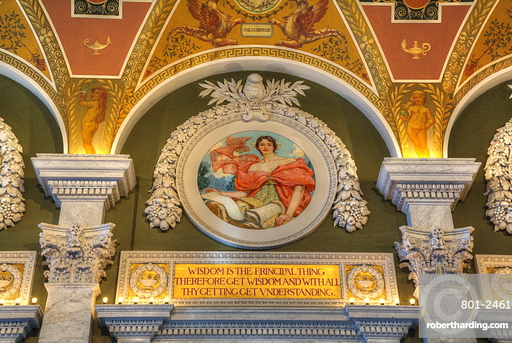 Ceiling and walls, Mezzanine of the Great Hall, Library of Congress, Washington D.C., United States of America, North America