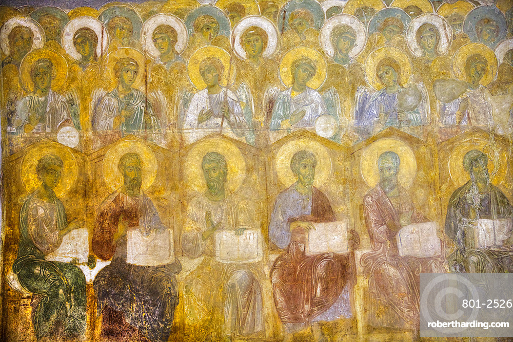 Original frescoes, St. Demetrius Cathedral, built between 1194 and 1197, UNESCO World Heritage Site, Vladimir, Russia, Europe