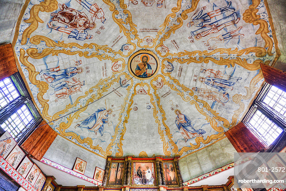 Ceiling frescoes from the 16th century, Church of Ilijah (Elijah) the Prophet, Museum of Wooden Architecture, Kostroma, Kostroma Oblast, Russia, Europe