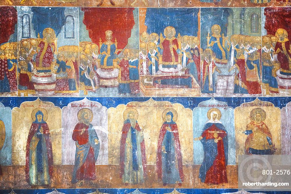 Frescoes, Church of St. John the Baptist, UNESCO World Heritage Site, Yaroslavl, Yaroslavl Oblast, Russia, Europe