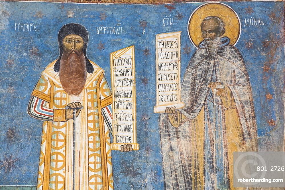 Fresco of Mitropoli and St. Daniel, Voronet Monastery, 1487, UNESCO World Heritage Site, Gura Humorului, Suceava County, Romania, Europe