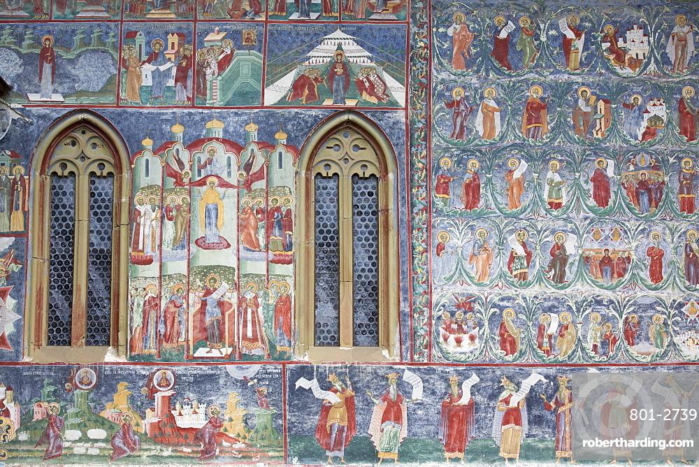 External Frescoes, Sucevita Monastery, 1585, UNESCO World Heritage Site, Sucevita, Suceava County, Romania, Europe