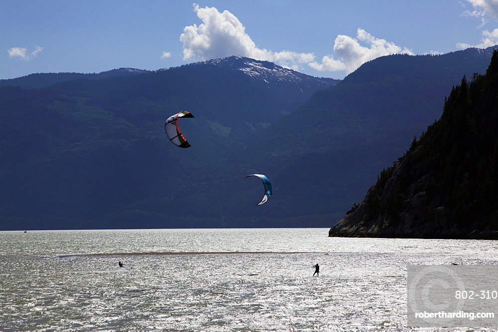 Two kite surfers on Howe Sound at Squamish, British Columbia, Canada, North America