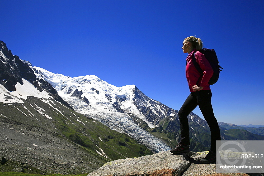 A hiker in the Mont Blanc Massif, Chamonix, Haute Savoie, French Alps, France, Europe