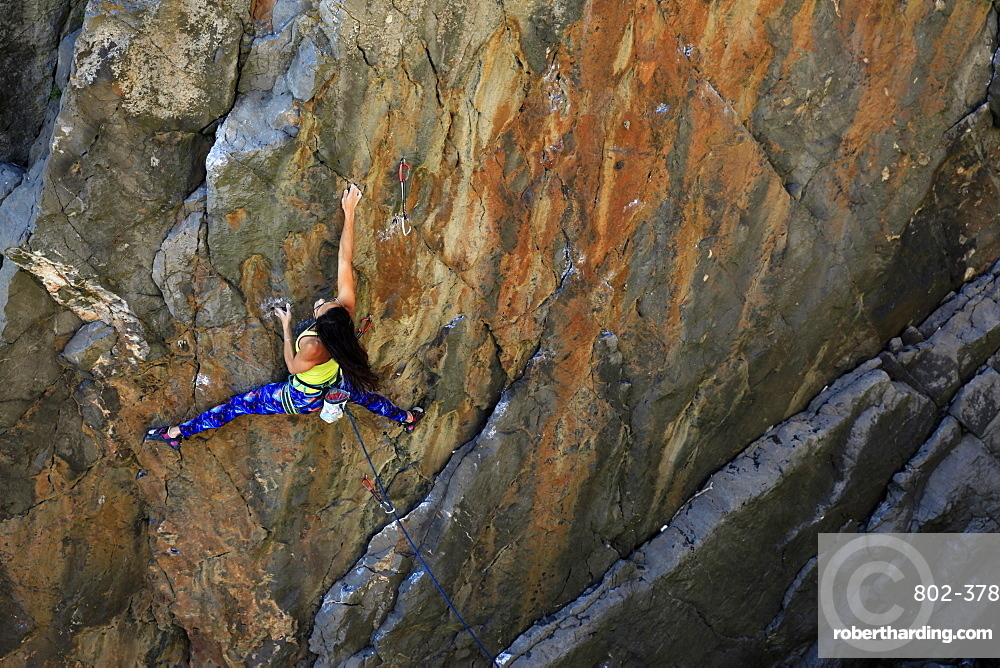 A woman rock climbing on cliffs on the Gower Peninsula, Wales, United Kingdom, Europe