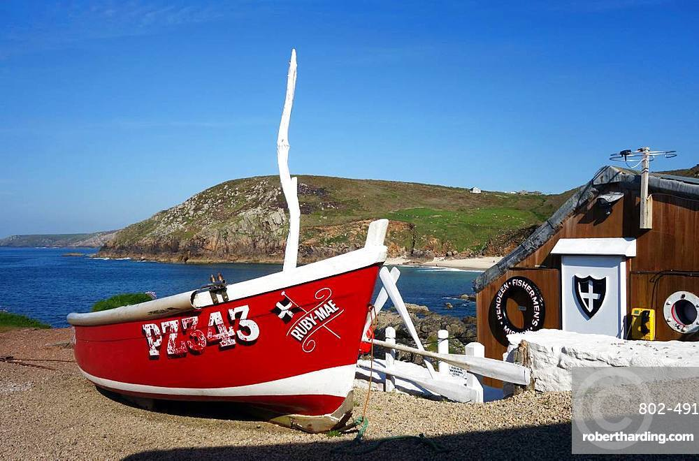 Fishing boats on the slipway at Boat Cove, West Penwith, Cornwall, England, United Kingdom, Europe