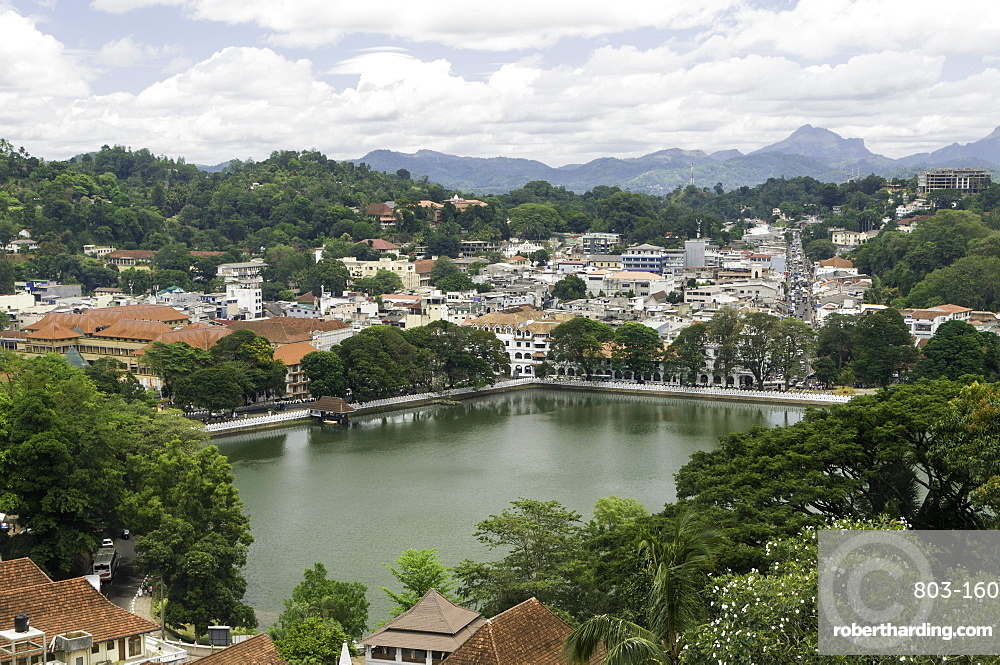 View of the lake and town of Kandy, Sri Lanka, Asia