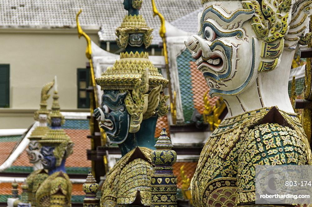 Statues at the Temple of the Emerald Buddha (Wat Phra Kaew), the Royal Palace, Bangkok, Thailand, Southeast Asia, Asia