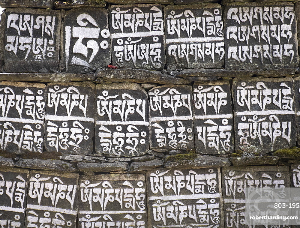 Close up of Mani stones along one of the trekking trails in the Sagarmatha National Park, UNESCO World Heritage Site, Nepal, Asia