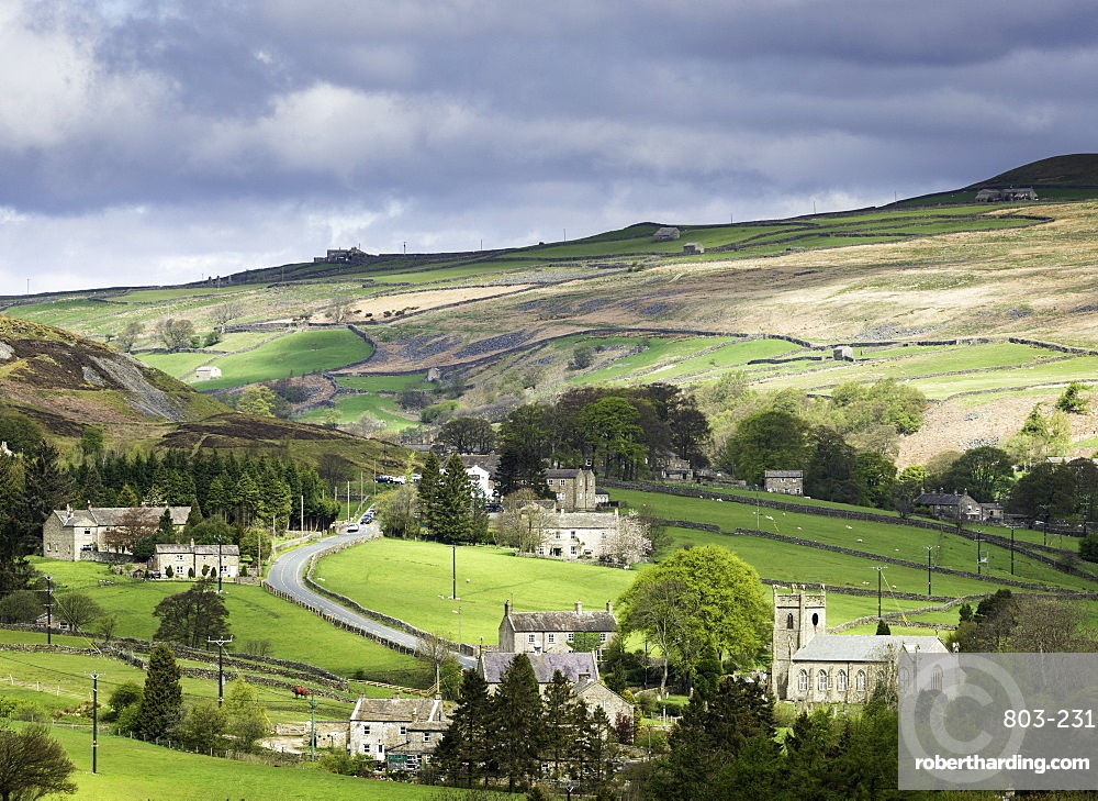 View of the village of Langthwaite in Arkengarthdale, Yorkshire, England, United Kingdom, Europe