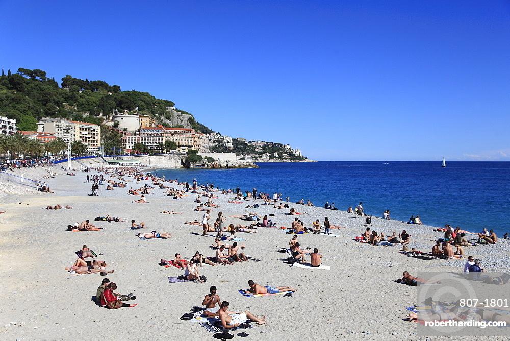 Beach, Nice, Alpes Maritimes, Cote d'Azur, French Riviera, Provence, France, Mediterranean, Europe