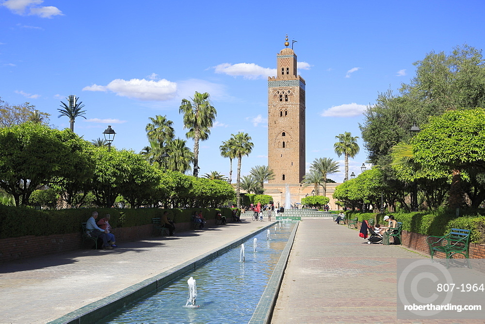 Minaret of the Koutoubia Mosque, 12th century, Marrakesh (Marrakech), Morocco, North Africa, Africa