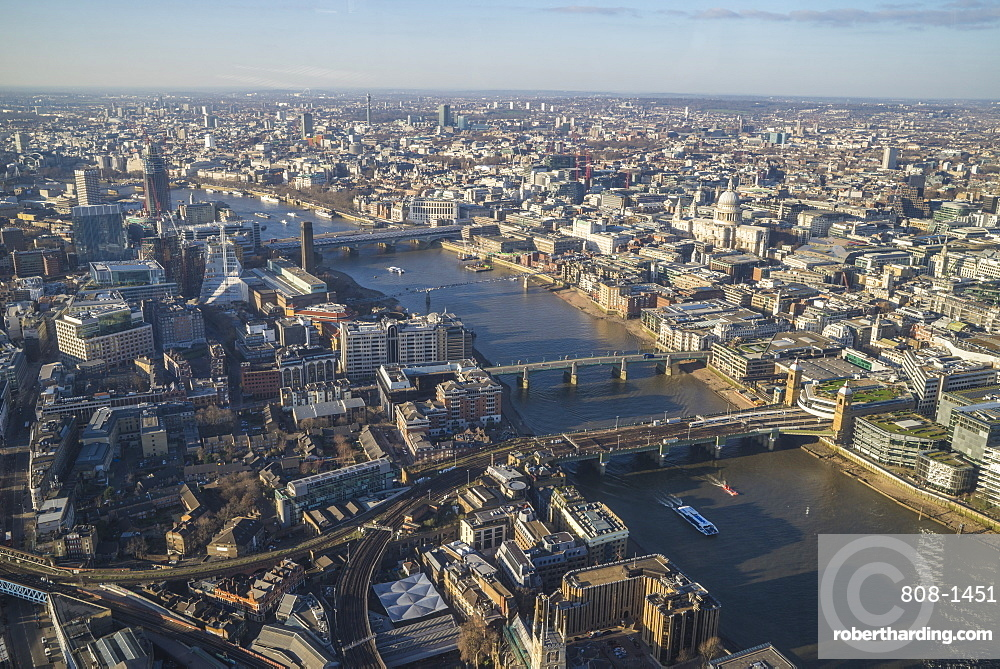 Elevated view of the River Thames and London skyline looking west, London, England, United Kingdom, Europe