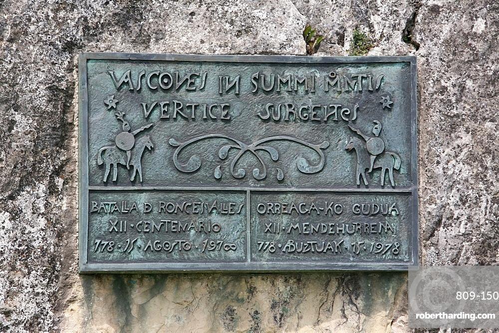Roncesvalles (Roncevaux) battle monument, Roncevaux, Navarre, Spain, Europe